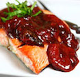 Grilled Salmon with Balsamic Roasted Strawberries