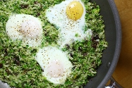 Brussels Sprout Hash and Eggs