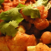 Curried Chickpeas and Cauliflower